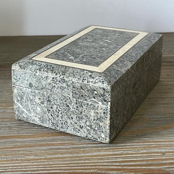 Gray coral polished stone trinket / jewelry box
